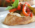 Roasted Pepper and Mozzarella Bruschetta
