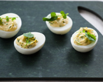 Roquefort Deviled Eggs with Watercress
