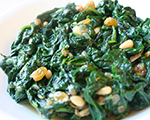 Sauted Fresh Spinach with Pine Nuts and Raisins