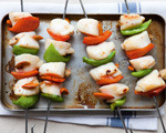 Skewered scallops