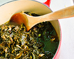 Southern collard greens with Parmesan vinaigrette