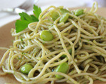 Spaghetti with Green Sauce and Edamame