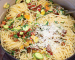 Spaghetti with Tomatoes, Baby Zucchini and Herbs