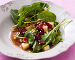 Spinach Salad with Gruyere, Dried Cranberries and Walnuts