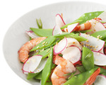 Steamed Snow Peas with Shrimp and Radishes
