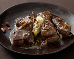 Strip Steak with Blue-Cheese Butter and Toasted Pecans