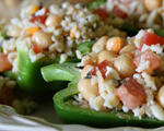 Summer Peppers Stuffed with Rice and Orzo