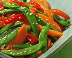 Sweet Sesame Snap Peas with Carrots and Bell Peppers
