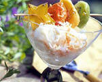 Tropical Fruit Kabobs with Coconut Topped Ice Cream