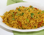 Turmeric Rice with Sweet Peppers and Garlic