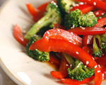 Warm Broccoli and Red Pepper Salad