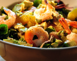 Watercress, Corn and Tomato Salad with Grilled Shrimp