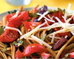 Cherry tomato sauce over whole-wheat linguine