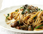 Whole Wheat Linguine with Pancetta, Spinach and Mushrooms