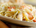 Shrimp Fettuccine and Alfredo Yogurt Sauce