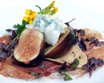 Prosciutto and Gorgonzola Cheese Served with Figs Marinated in Port