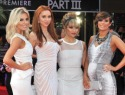 Frankie Sandford reveals baby bump at Hangover premiere