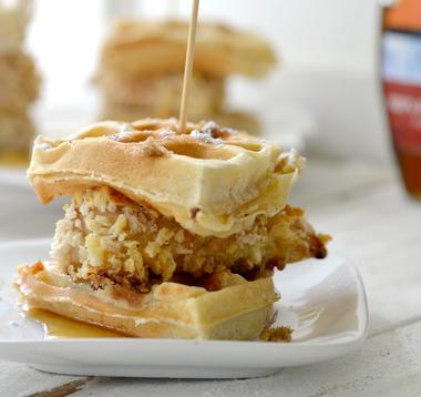 Mini chicken and waffle sandwich