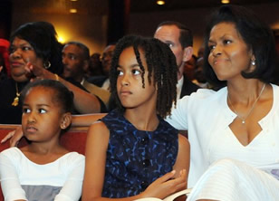 Michelle, Sasha and Malia Obama