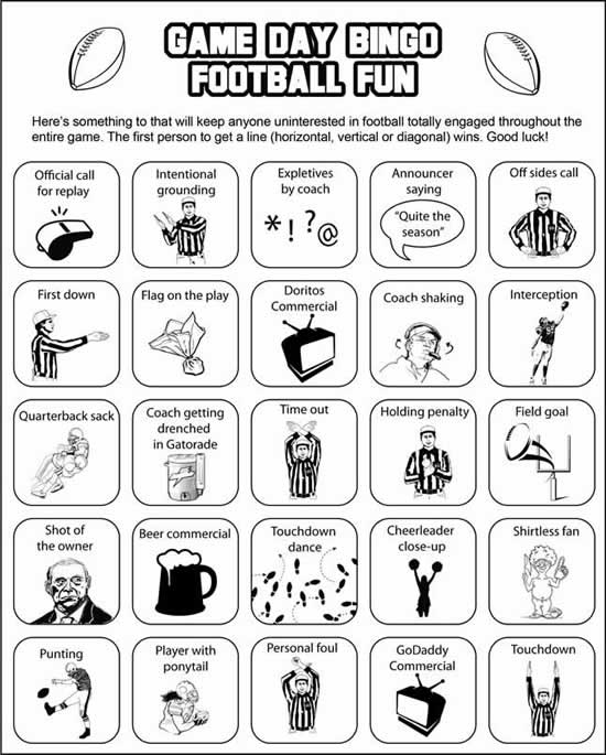Super Bowl party game: Super Bowl Bingo