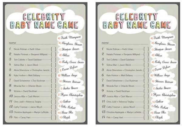 This is an image of Celebrity Baby Name Game Printable throughout cash