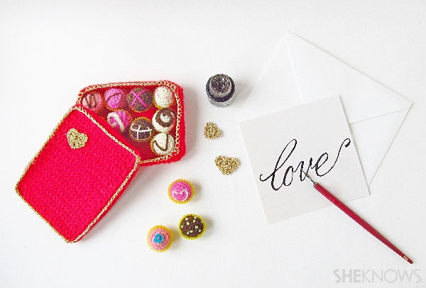 Valentine's Day crochet box of chocolates: Complete