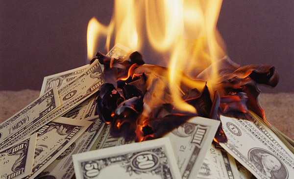 Photo of burning money