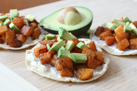Butternut squash, sage and goat cheese mini tostadas