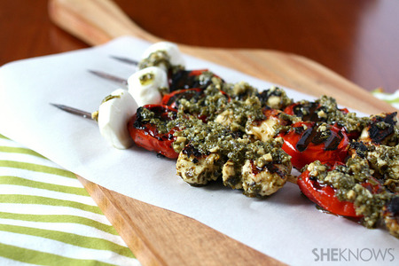 Grilled bruschetta chicken kebabs