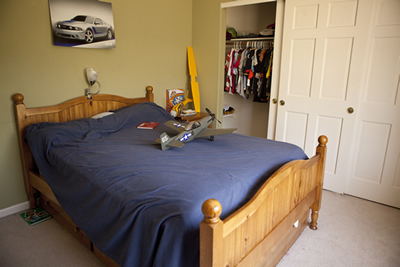 Red room bed before