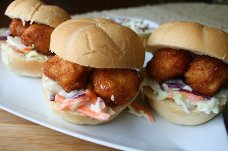 Honey BBQ sliders with homemade coleslaw