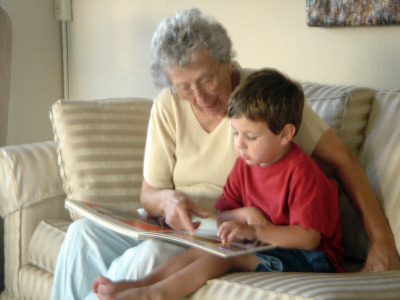 Julien (3 years old) with Great Grandma