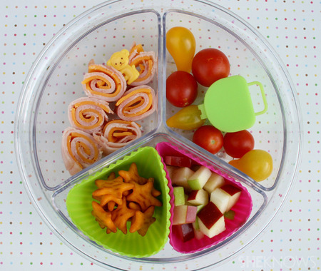 Tomatoes, Turkey Rolls & Stars bento box lunch