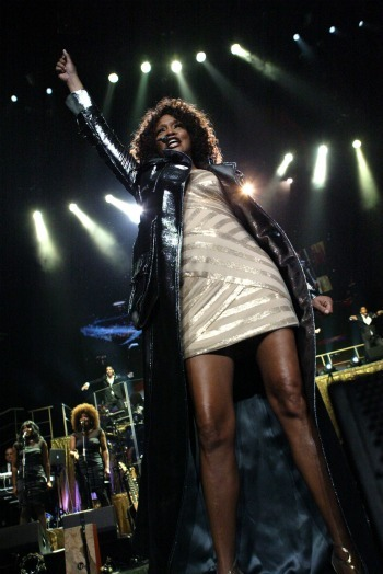 Whitney Houston performs at the Acer Arena