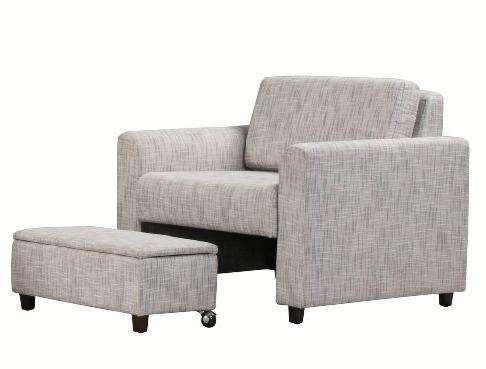 Merveilleux Blue Grey Chair And Ottoman