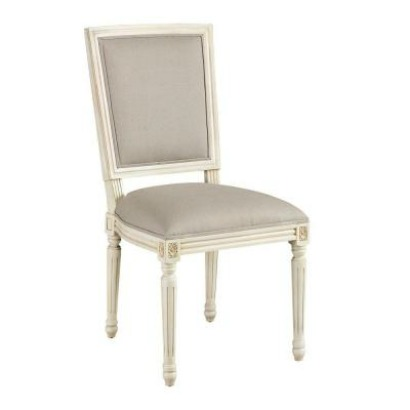French Antique White Square Back Side Chair - French Antique White Square Back Side Chair - Gift Ideas