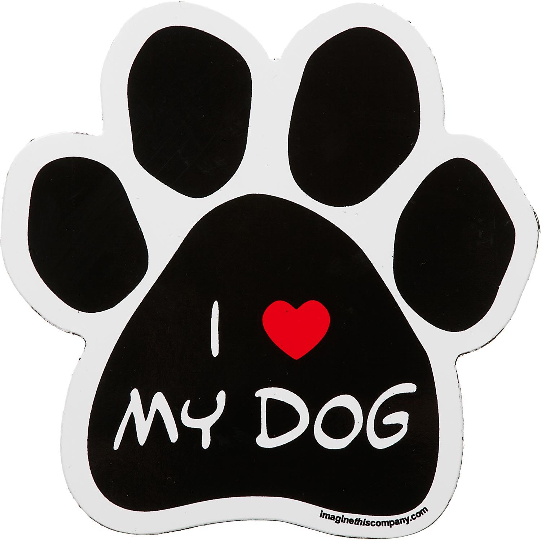 I Love My Dog Paw Car Magnet