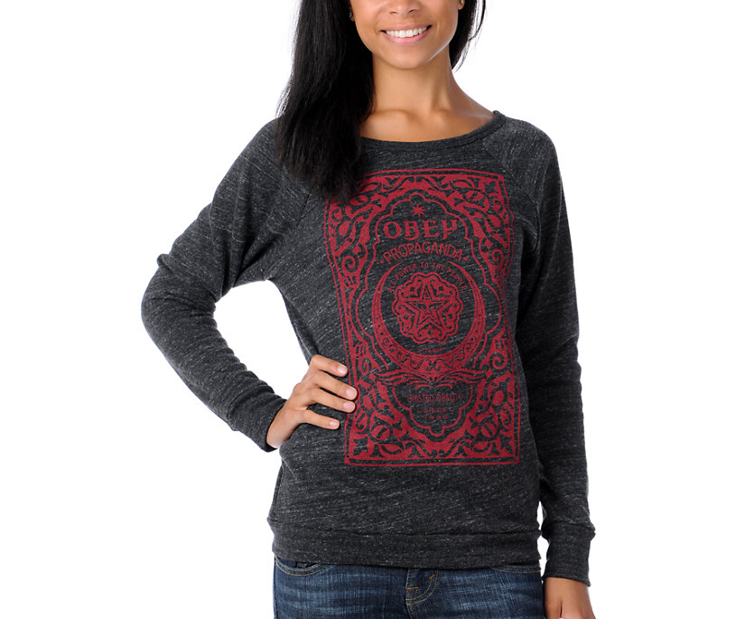 obey girls moroccan label charcoal pullover sweatshirt