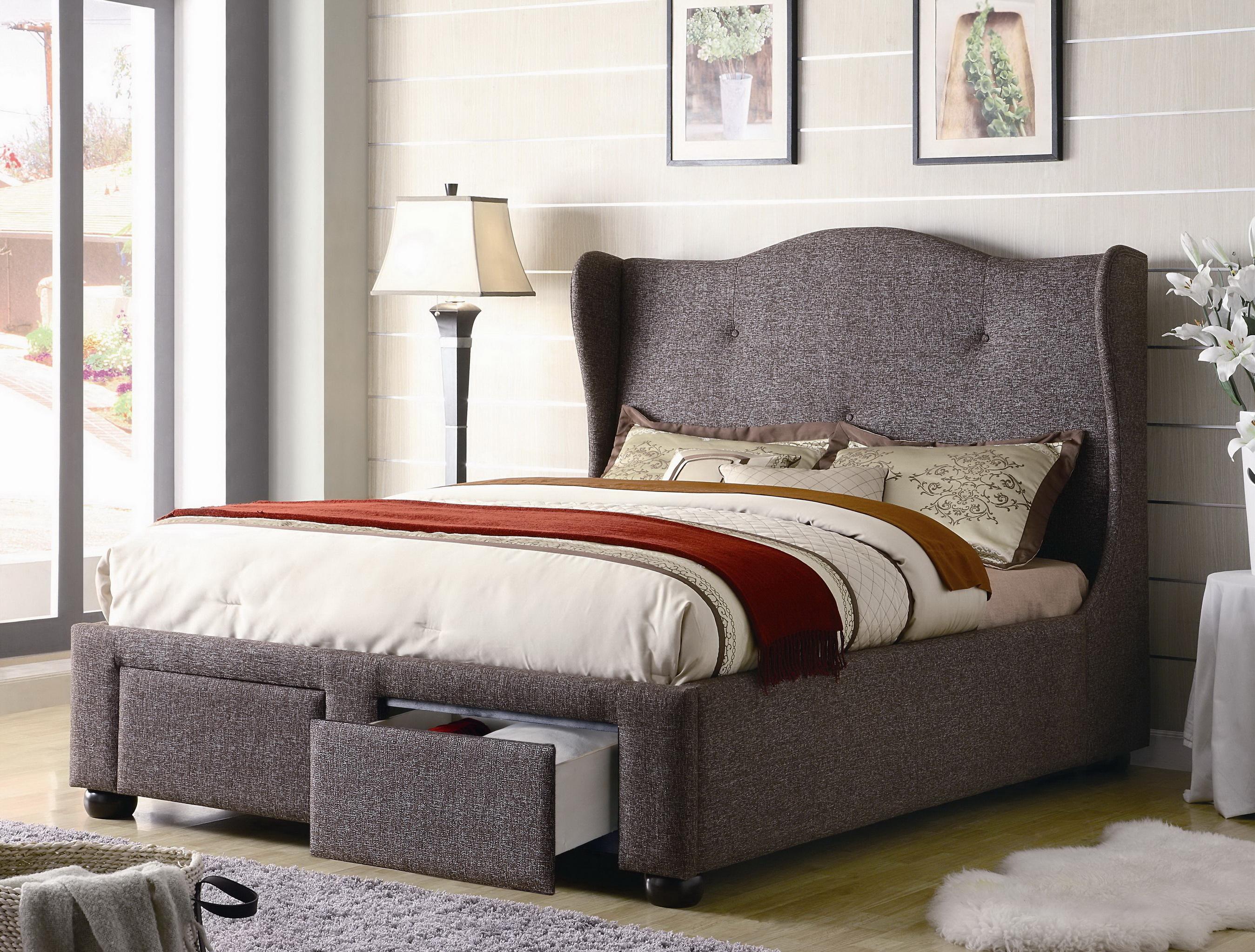 Cleo Queen Brown Tweed Wing Bed Gift Ideas