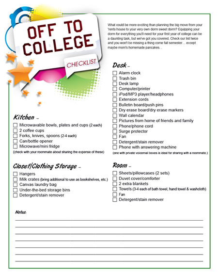 Printable college dorm shopping list