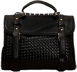 Retro black faux quilted messenger bag