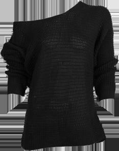Black Off Shoulder Knit Top