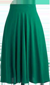Flowing green skirt