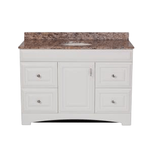 Vanity in White with Stone Effects