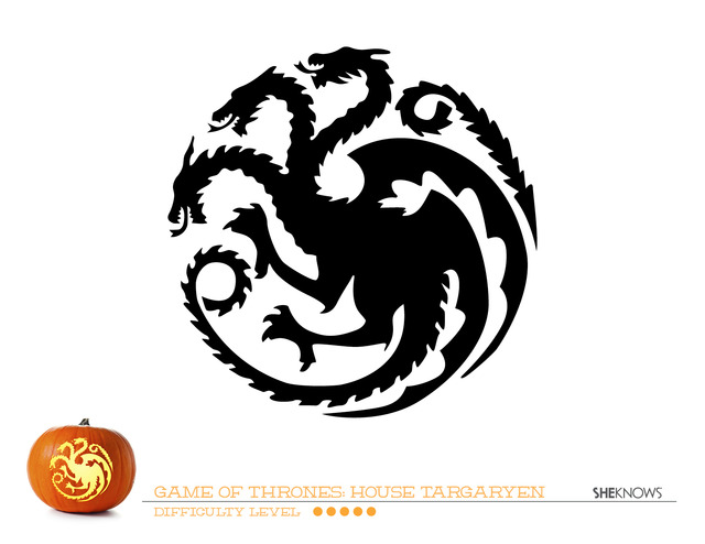 Game Of Thrones House Of Targaryen Pumpkin Carving Template  Free