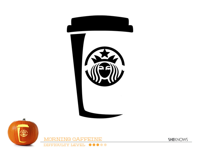 Starbucks Cup Pumpkin Carving Template - Free Printable Coloring Pages