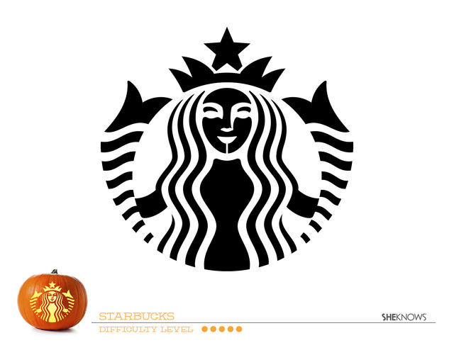 Starbucks Logo Pumpkin Carving Template - Free Printable Coloring