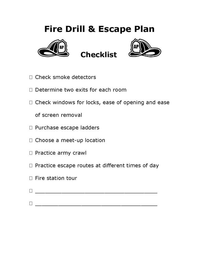 Allparenting Fire Drill Checklist Free Printable
