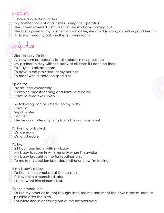 Birth Plan Worksheet, Page 3 - Free Printable Coloring Pages