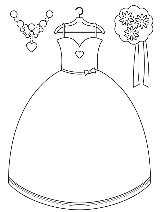 Bridesmaid Dress And Accessories Free Printable Coloring